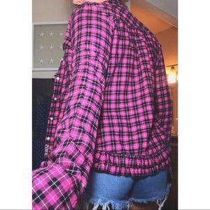 PINK Victoria's Secret Tops - PINK  || ruffled bottom button up